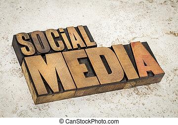 média, type, bois, texte, social