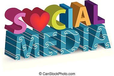 média, vecteur, mots, social