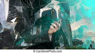 médias mélangés, technologies, connection.
