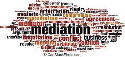 médiation, mot, nuage