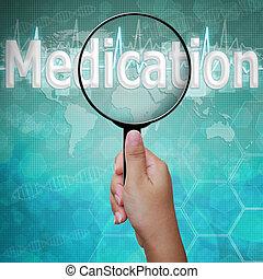 médicament, mot, monde médical, verre, fond, magnifier