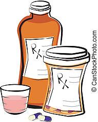 médicaments prescription, bouteilles