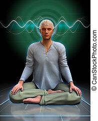 méditation, brainwaves