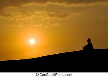méditation, coucher soleil, sous