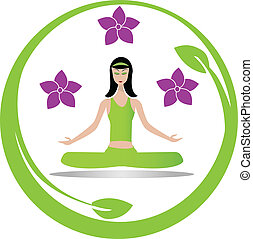 méditation, girl, yoga