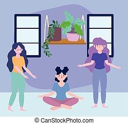 méditation, maison, femmes, séjour, isolement, yoga, coronavirus, soi, activités, girl, debout, quarantaine, salle