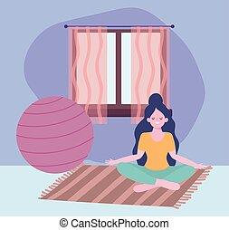 méditation, maison, séjour, isolement, pose, yoga, coronavirus, soi, activités, quarantaine, girl