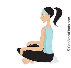 méditation, vecteur, -