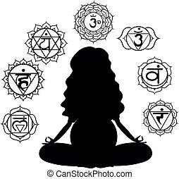 méditer, femme, silhouette, pregnant