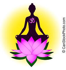 méditer, femme, symbole om