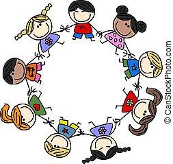 mélangé, amitié, enfants, ethnique