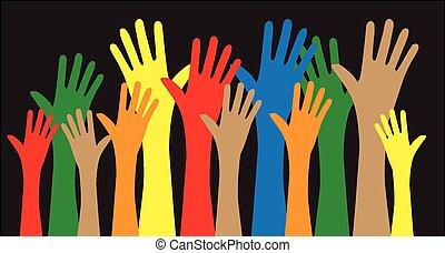 mélangé, atteindre, ethnique, mains