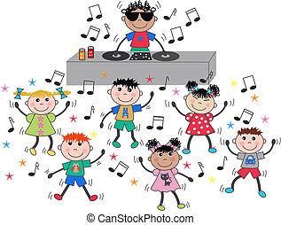 mélangé, danse, enfants, ethnique, disco