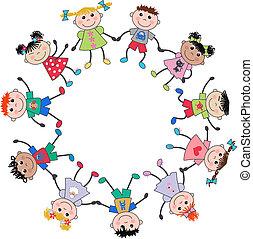 mélangé, enfants, ethnique