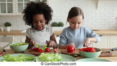 mélangé, ensemble, stepsisters, légume, frais, découpage, deux, course, enfants, salade