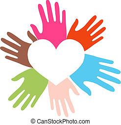 mélangé ethnique, amour, mains