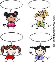 mélangé ethnique, filles, enfants, heureux
