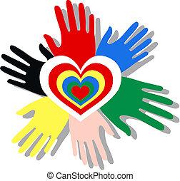 mélangé ethnique, mains