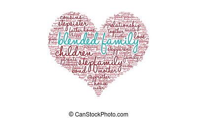 mélangé, famille, nuage, mot