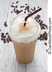 mélangé, frappucino, haricots, café, glacé