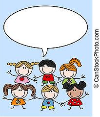 mélangé, gosses, enfants, ethnique