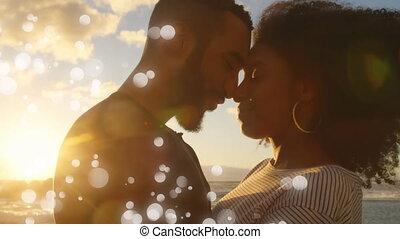 mélangé-race, moment, plage, couple, entre, complicité