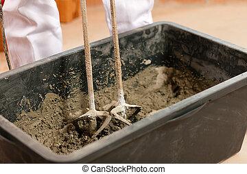 mélange, béton, ouvrier construction