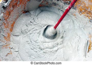 mélange, colle, ou, ciment