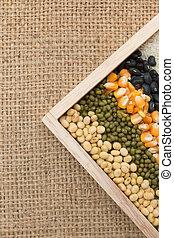 mélange, grains, lentilles, pois, haricots, séché, fond