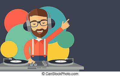 mélange, jockey, disque, music.