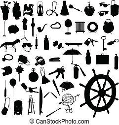 mélange, silhouettes, vecteur, objet