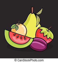 mélange, vecteur, fruits