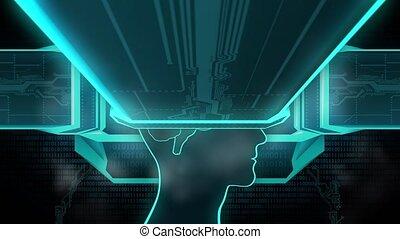 mémoire, esprit, remplacer, unité centrale traitement, cerveau, installed, conscience, boucle, récupération, seamless
