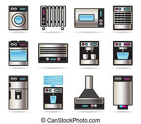 ménage, ensemble, appareils, icônes