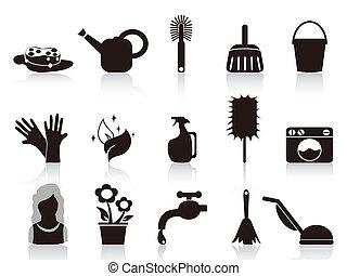 ménage, noir, icônes