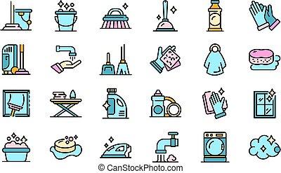 ménage, vecteur, plat, icônes