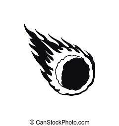météore, désirent ardemment queue, simple, icône, style, tomber