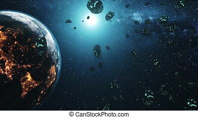 météore, système, par, voler, la terre, douche, solaire