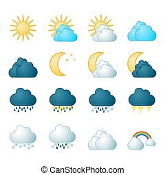 météorologie, ensemble, icônes