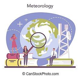 météorologiste, forecaster, temps, rechercher, concept., étudier