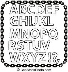 métal, alphabet, isolé, chaîne, blanc