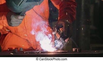 métal, arc, machine, soudeur, soudure, fonctionnement
