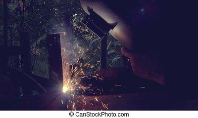 métal, atelier, arc, soudure