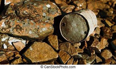 métal, détruit, plage, baril, rouillé, rochers
