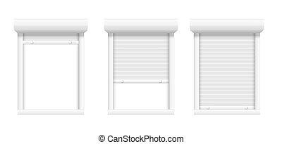métal, fermé, fenêtre., ouvert, vecteur, jalousie, volet, roll., ou