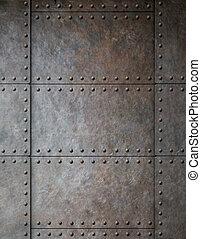 métal, fond, rivets, acier, armure
