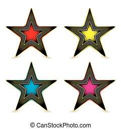 métal, hexagone, étoile, récompense