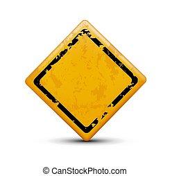 métal, isolé, signe, avertissement, fond, blanc