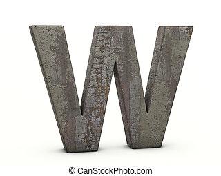 métal, lettre, rouillé, w