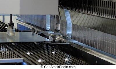 métal, machine, fonctionnement, automatique, courber, hydraulique, feuille, usine
